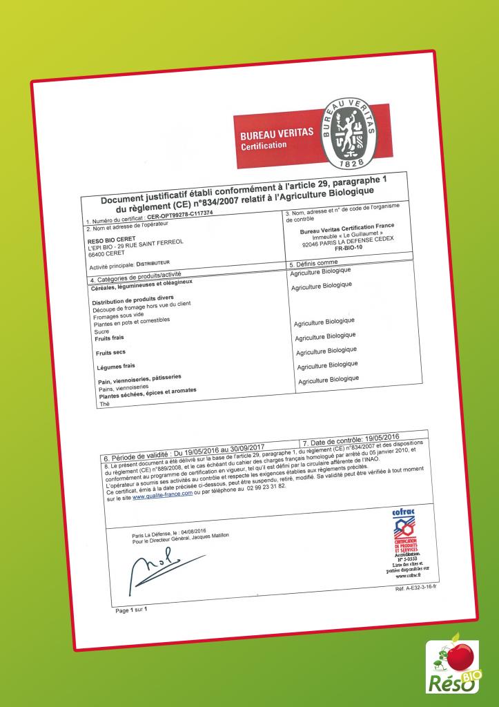 Certification Céret et le boulou